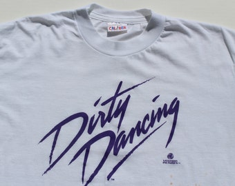 Vintage Dirty Dancing t-shirt -Cult Film Classic retro tee tshirt -Patrick Swayze 1987-large -unisex thin retro white cotton -baby