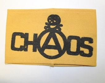 CHAOS Armband-  Punk Style - Seditionaries- Anarchy - Skull - Hand Screenprinted funeral arm band - Large- New