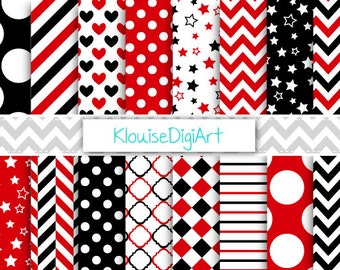 Red and Black Ladybug Printable Digital Paper Pack with Chevrons, Polka Dots and Stripes for Personal and Small Commercial Use (0067)