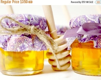 SALE 15% OFF Ends Sunday Mini Mason Jar Honey Wedding Favor with Wooden Honey Dipper for a Meant To Bee Theme Wedding or Mommy to Bee Theme