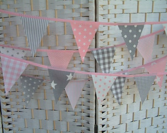 Mini-bunting. Grey (gray) & pink cotton fabric. Nursery banner. Sold by the metre. Stars,  stripes, spots, gingham checks. Modern.