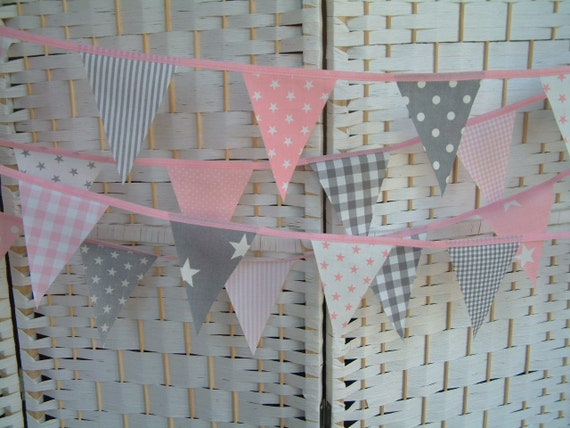 Mini bunting grey gray pink cotton fabric nursery for Pink and grey nursery fabric