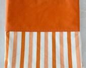 Vintage 1960s Springmade Cotton Percale Orange Stripe Full Double Flat Sheet