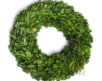Sophisticated Handmade Preserved Boxwood Wreath- Fine Quality Material- Various sizes to choose from.