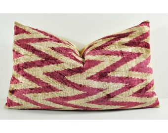Handmade Velvet Silk Ikat pillow cover LP 133, Bohemian pillow