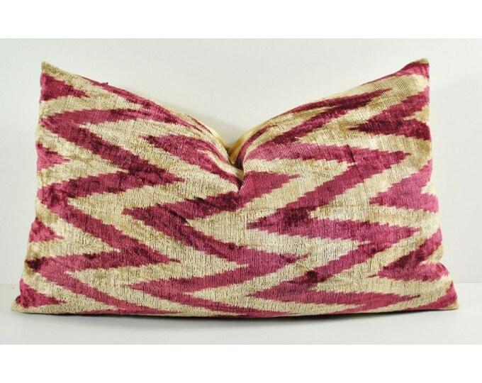 Handmade Velvet Silk Ikat pillow cover LP 133, Bohemian pillow