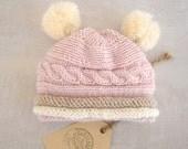 Newborn Baby Girl Hat - Knit Baby Hat With Flower - Knit Newborn Hat