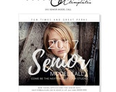 Model Call Photography Template, Photoshop Template, Senior Photography Marketing, MC10, INSTANT DOWNLOAD