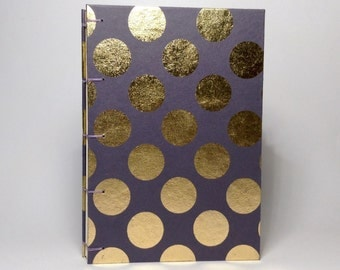 Gray & Gold Polka Dot Journal - Lined Pages