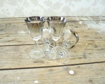 Vintage Small Silver Ombre liqueur glasses, Chrome mercury glass aperitif barware glassware 1960's, Vitreon Queen's Lusterware