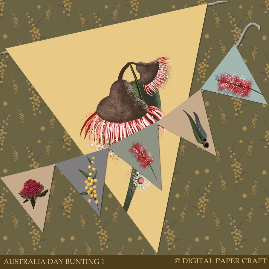 Australia day bunting clipart printable aussie decorations for Australia day decoration
