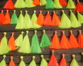 Set Of 50 Silky Tassels Mixed Sizes Neon Colors,Gold/Silver Tie Thread