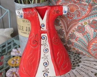 Vintage Mexican Pottery Dress Decor ~  FALL DECOR ~ Home Decor// Home and Living // Unique Conversation Piece