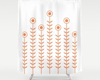 36 colours, Minimalist Flowers Shower Curtain, Scandinavian style, Celosia Orange geometric shower curtains, flower pattern bathroom decor
