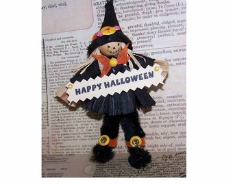 Handmade,Handmade Ornament,Vintage Halloween,Halloween Ornament,Halloween,Vintage Ornament,Scarecrow,Happy Halloween,Feather Tree Ornament