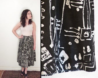 1980s TRIBAL Skirt Abstract Pleated Black & White Century Size Medium
