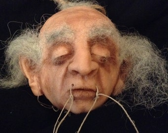 Shrunken Head with Aztec Death Whistles / Handmade