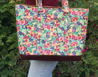Tote bag, large tote, travel bag, diaper bag, floral bag