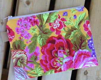 Cosmetic bag, cosmetic pouch, floral cosmetic bag, floral bag, zipper pouch, zipper bag, pen pouch, travel bag