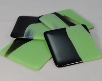 Fused Glass Coasters, Mint Green and Black Swirl (Quantity 4)