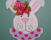 Easter Door Hanger, Spring Door Hanger, Bunny Door Hanger, Rabbit Door Hanger, Bunny with Dots,