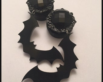 PICK SIZE Black Gem Bat  Acrylic Laser Cut dangle plug ear gauges Plugs