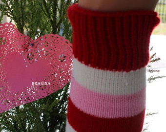 Red/White/Pink Striped Aduld Leg Warmers