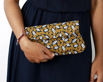 Golden leaves simple clutch. Gold and navy cotton clutches, bridesmaid clutch, bridesmaid gift