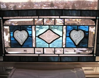 Stained Glass Art Panel|Transom|Vintage Tiara Plates|Blue|Turquoise|Home Decor|Window Treatment|Glass Art|Panel|Handcrafted|Made in USA