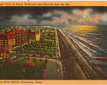 Linen Postcard, Galveston, Texas, Beach Boulevard and Seawall from the Air, 1952