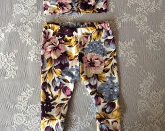 Baby Leggings and Bow Set Floral, Baby bow, baby leggings, Floral Baby