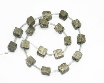10-12mm Pyrite Cube Gemstones Natural  Rough Cube Loose Beads 7 inch Half Strand (90189076-353)