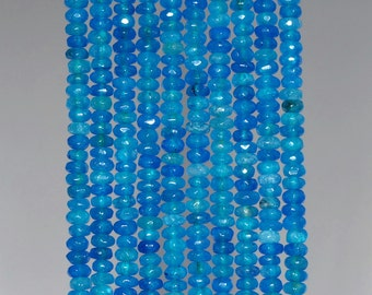 4x3mm Fancy Blue Jade Gemstone Faceted Rondelle Loose Beads 15 inch Full Strand (90182865-783)