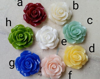 19 mm of Assorted Colour Shiny Rose Resin Flower Cabochons (.tu)(zzb)