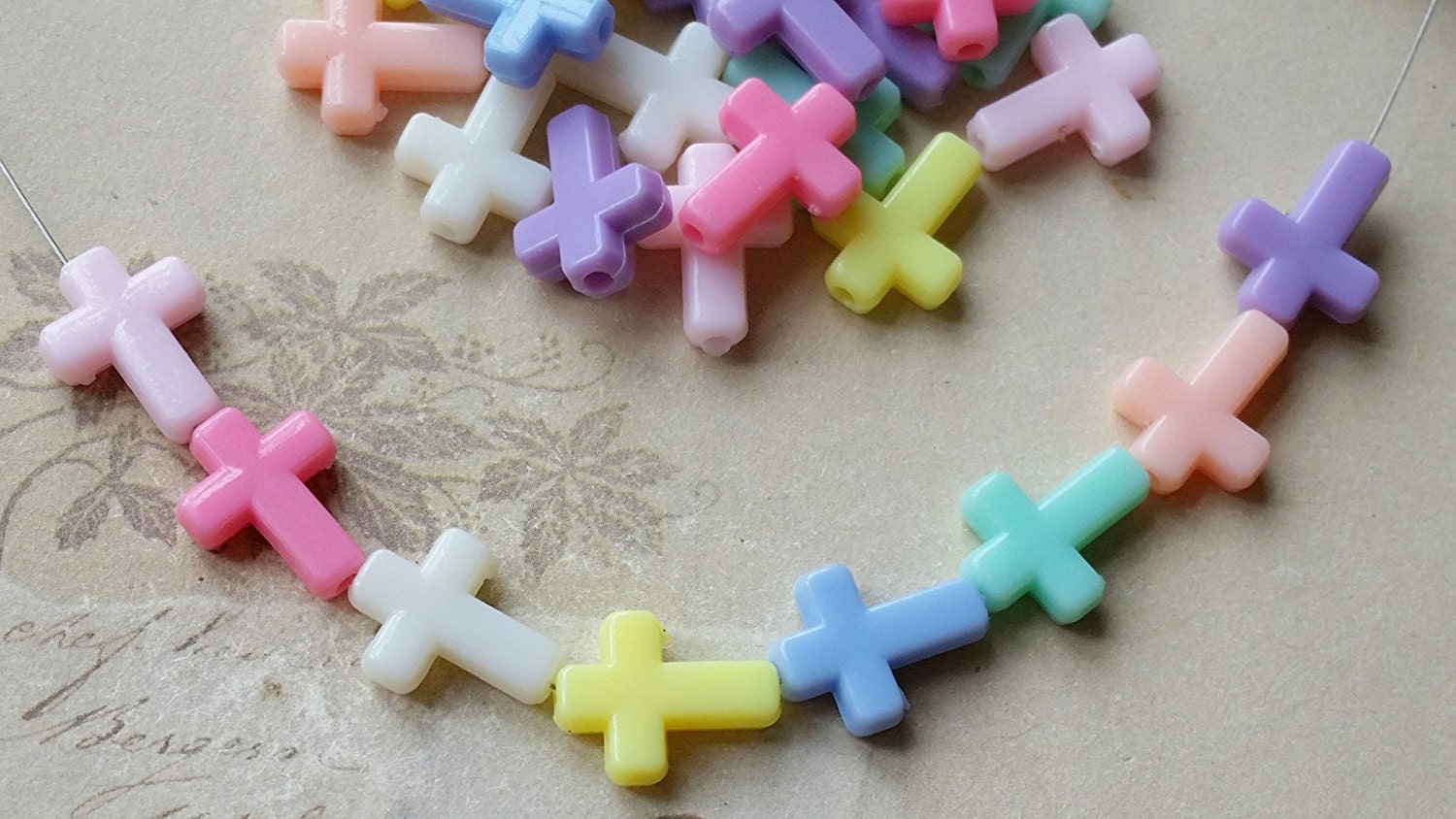 15 X 12 Mm Acrylic Cross Of Assorted Color Mtg From