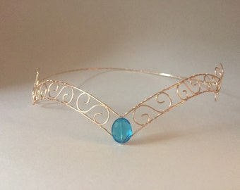 Gold Wire Forehead Tiara Blue Centre Jewel