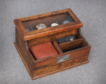 Personalized  Men's Valet and Watch box with Drawer and glass top - Holds 4 watches