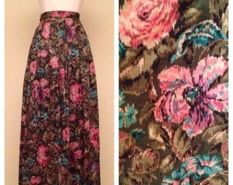 ON SALE Adorable Pinup Skirt Floral Print in Pink and Teal by JH Collectibles - Knee Length Pleated Skirt Size Small