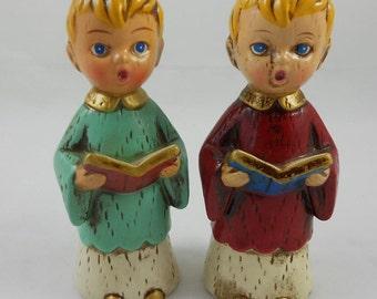 Vintage Paper Mache Christmas Carolers Choir Boys Red & Aqua Robes