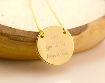 Mother's Day Personalized Name/Quote Necklace, Handstamped Disc Necklace, Graduation Gift, Birthday Gift