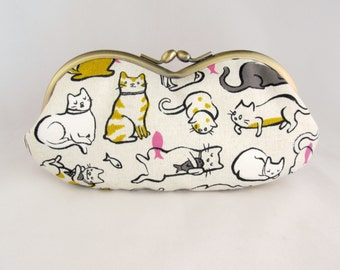 Lazy Cat Lover Gift - Soft Eyeglass Case - Eye Glass Case - Sunglasses Case - Cute Glasses Case - Sunglass Case - Glasses Case Kiss Lock