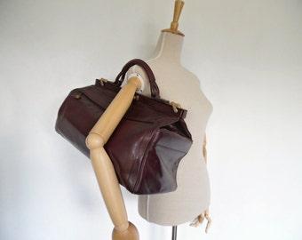 SALE :))) GOLDPFEIL . Gladstone Doctor's Travel Burgundy Leather Duffle Gym Overnight Weekend Luggage Baggage Rare Bag Hyper Stylish 70s