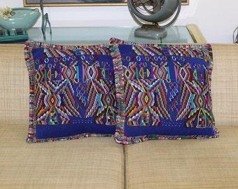 Guatemalan textile pair of cushion cases blue