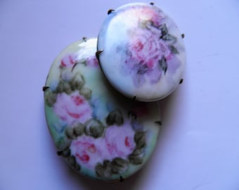 Set of Two Porceain Hand Painted Pins, Brooches