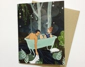 Night Bath - A2 Greeting Card with Envelope