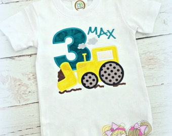 Tractor Birthday Shirt- Construction- Dirt- Yellow Tractor- Custom Embroidery- Boys Birthday