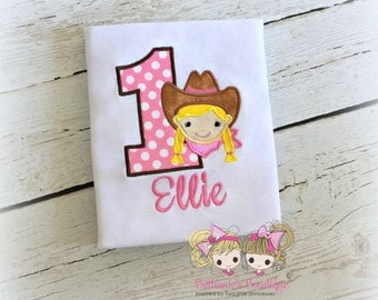 Cowgirl birthday shirt - 1st birthday cowgirl shirt - little cowgirl birthday shirt - personalized cowgirl themed shirt - embroidered shirt