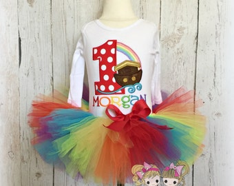 Noah's Ark birthday outfit - 1st birthday Noah's Ark tutu outfit - bible themed birthday - Noah's Ark themed birthday - rainbow tutu outfit