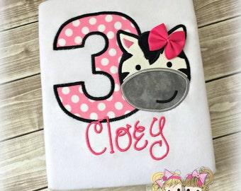 Girls Zebra Birthday Shirt- Cute Zebra Face- Pink Polka Dots- Number Birthday Shirt