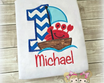 Boys Summer Crab Shirt- Crab on a boat- Birthday Shirt- Beach- Custom embroidery